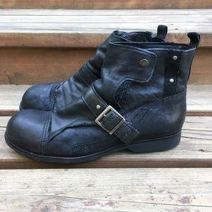 Diesel Hardlabor Black Leather Moto Boots Men 10.5